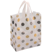 Plastic Frosted Bag Silver/Gold Dots 8x5x10