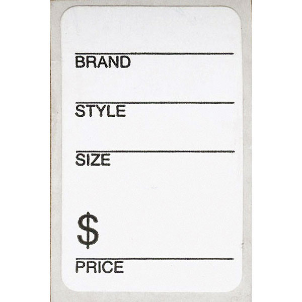 "Shoe labels 1-1/4"" x 2"" - white with adhesive back (500/roll)"