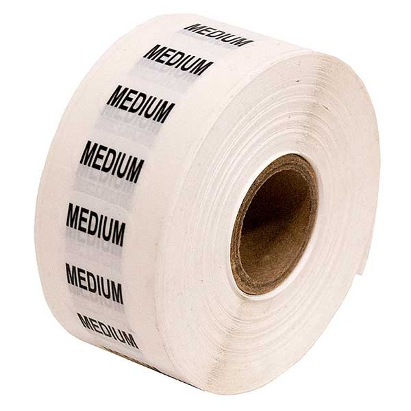 Size Labels Clear Adhesive - Medium