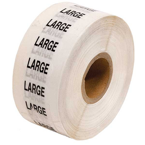 Size Labels Clear Adhesive - Large