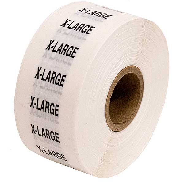 Size Labels Clear Adhesive - X-Large