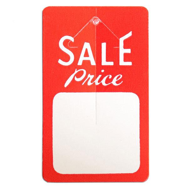 """Button tag """"sale price"""" red & white 1000/box"""