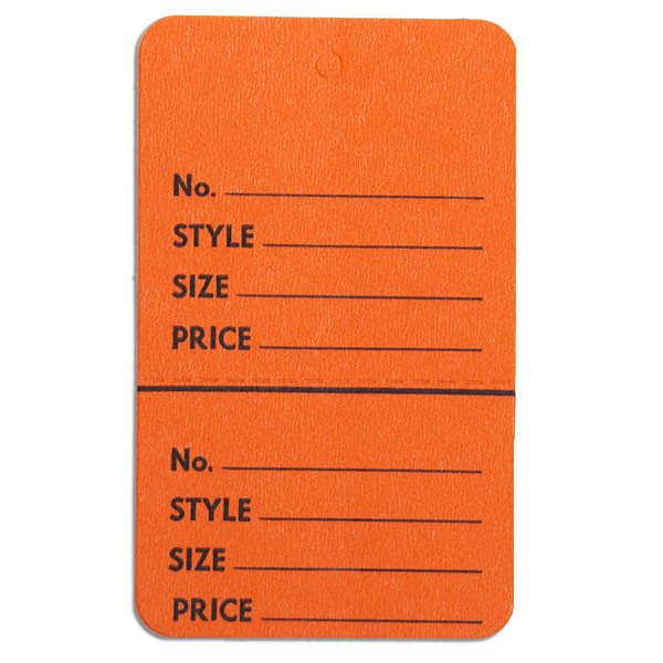 "Perforated merchandise tags without strings 1-3/4""x2-7/8"" - orange"