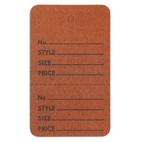"Perforated merchandise tags without strings 1-3/4""x2-7/8"" - brown"