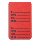 "Perforated merchandise tags without strings 1-3/4""x2-7/8"" - red"