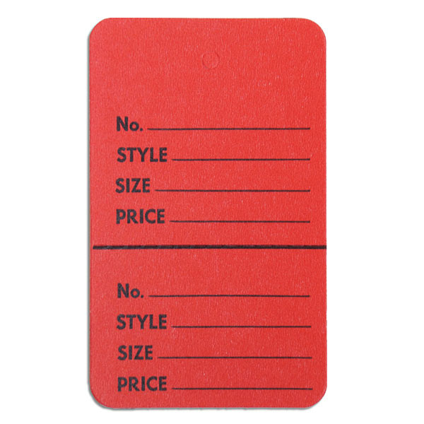 """Perforated merchandise tags without strings 1-3/4""""x2-7/8"""" - red"""