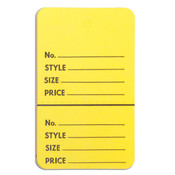 "Perforated merchandise tags without strings 1-3/4""x2-7/8"" - yellow"