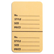"Perforated merchandise tags without strings 1-3/4""x2-7/8"" - buff"