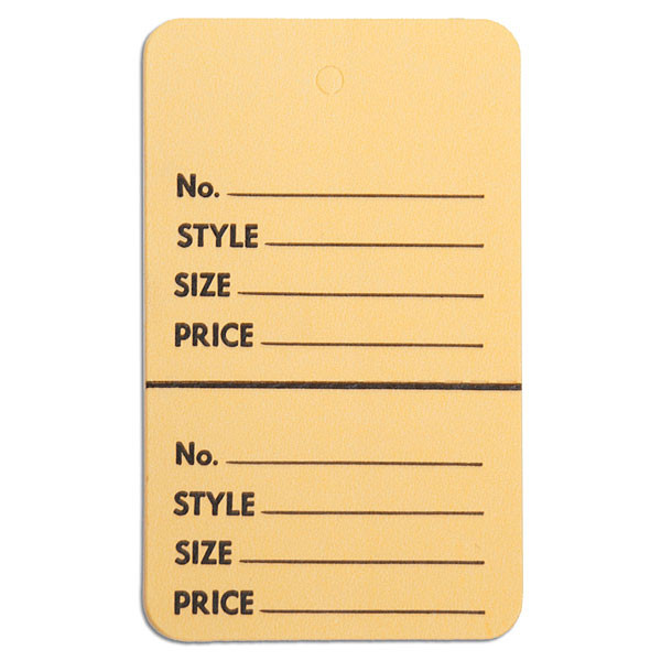 """Perforated merchandise tags without strings 1-3/4""""x2-7/8"""" - buff"""