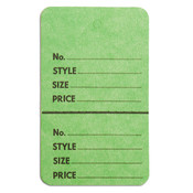 "Perforated merchandise tags no strings 1-3/4""x2-7/8"" - light green"