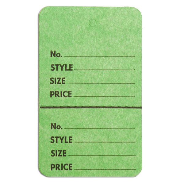 """Perforated merchandise tags no strings 1-3/4""""x2-7/8"""" - light green"""