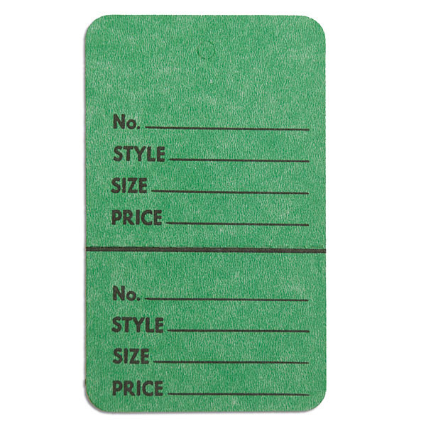 """Perforated merchandise tags no strings 1-3/4""""x2-7/8"""" - dark green"""