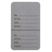 "Perforated merchandise tags without strings 1-3/4""x2-7/8"" - gray"
