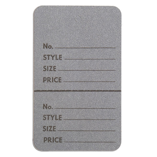 """Perforated merchandise tags without strings 1-3/4""""x2-7/8"""" - gray"""