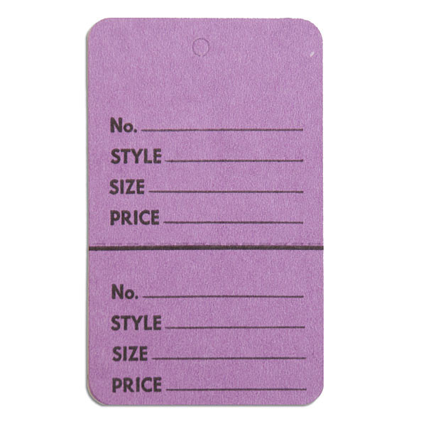 """Perforated merchandise tags without strings 1-3/4""""x2-7/8"""" - lavender"""