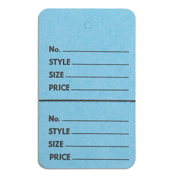 """Perforated merchandise tags no strings 1-3/4""""x2-7/8"""" - light blue"""