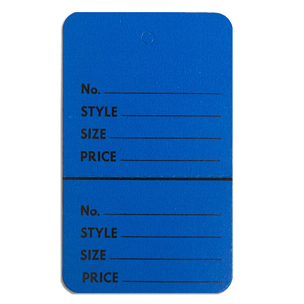 "Perforated merchandise tags without strings 1-3/4""x2-7/8"" - dark blue"