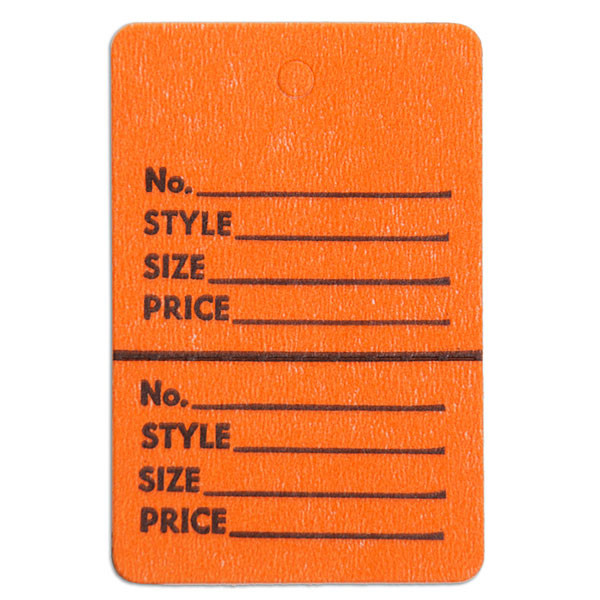 """Perforated merchandise tags without strings 1-1/2""""x1-3/4"""" - orange"""