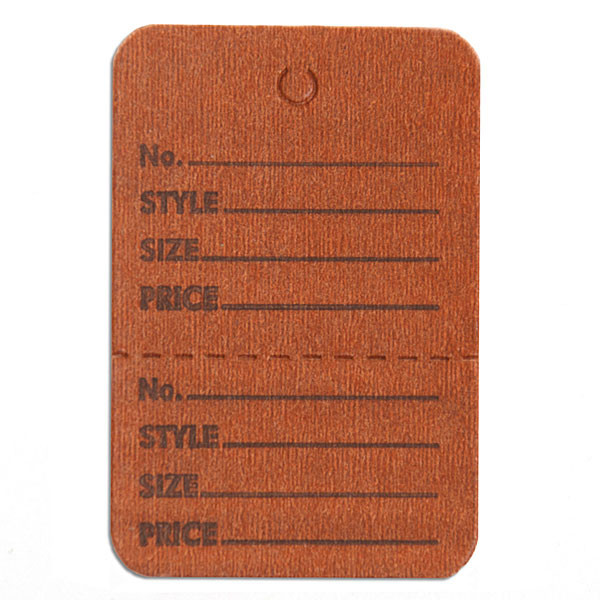 "Perforated merchandise tags without strings 1-1/2""x1-3/4"" - brown"