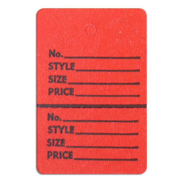 """Perforated merchandise tags without strings 1-1/2""""x1-3/4"""" - red"""