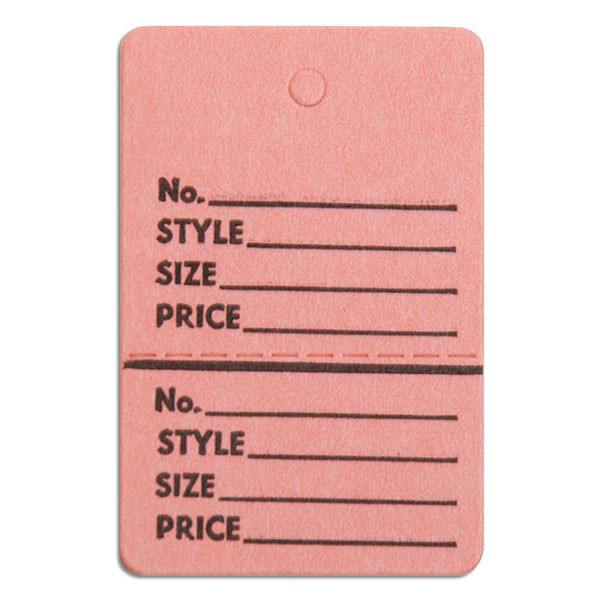 "Perforated merchandise tags without strings 1-1/2""x1-3/4"" - pink"