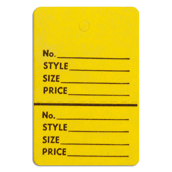 "Perforated merchandise tags without strings 1-1/2""x1-3/4"" - yellow"
