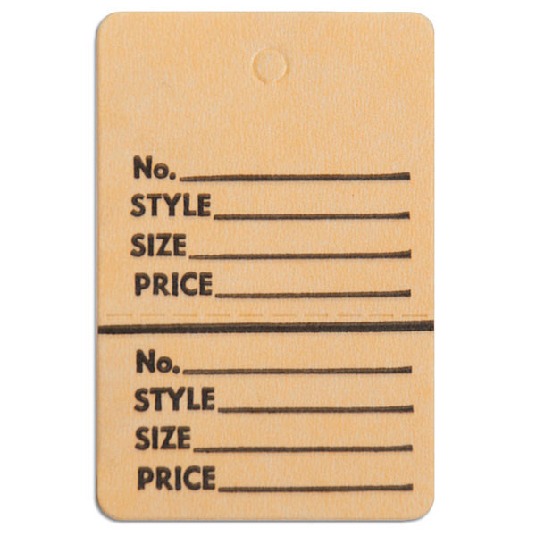 """Perforated merchandise tags without strings 1-1/2""""x1-3/4"""" - buff"""