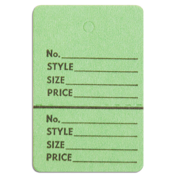 """Perforated merchandise tags no strings 1-1/2""""x1-3/4"""" - light green"""