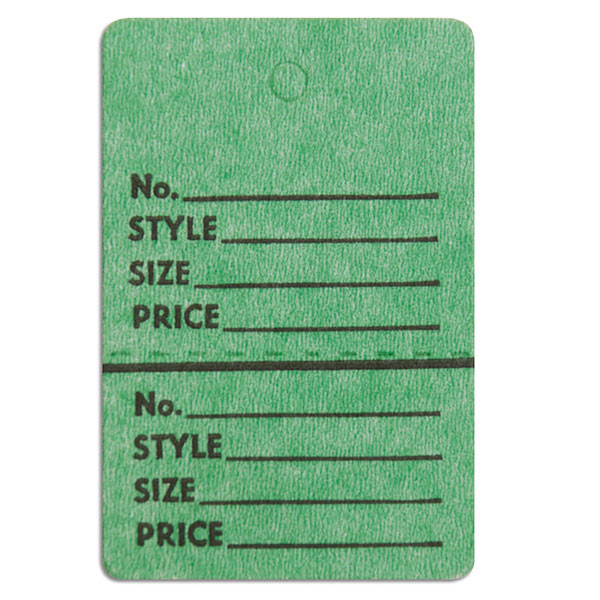 "Perforated merchandise tags no strings 1-1/2""x1-3/4"" - dark green"
