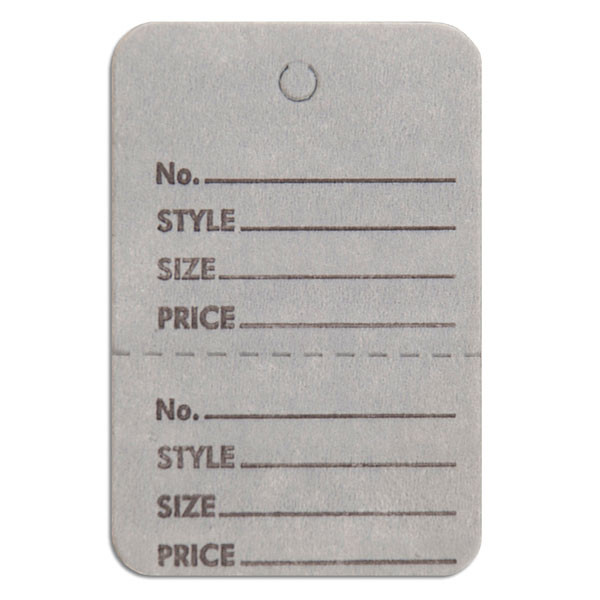 "Perforated merchandise tags without strings 1-1/2""x1-3/4"" - gray"