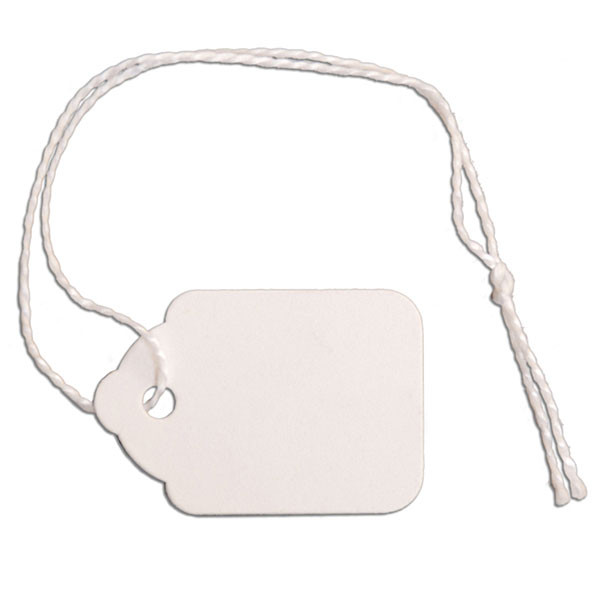 "Merchandise tag #3 with string 7/8""x1-1/4"" - white"