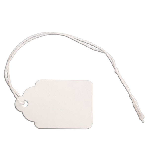 "Merchandise tag #4 with string 1""x1-1/2"" - white"