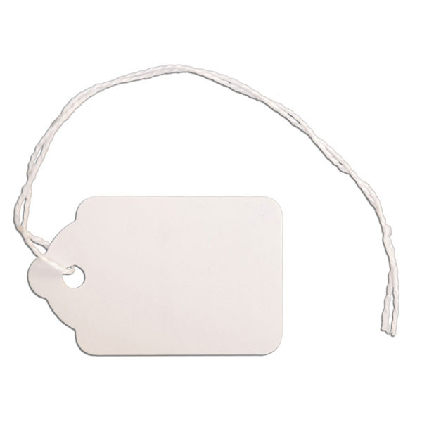 "Merchandise tag #5 with string 1-1/8""x1-3/4"" - white"