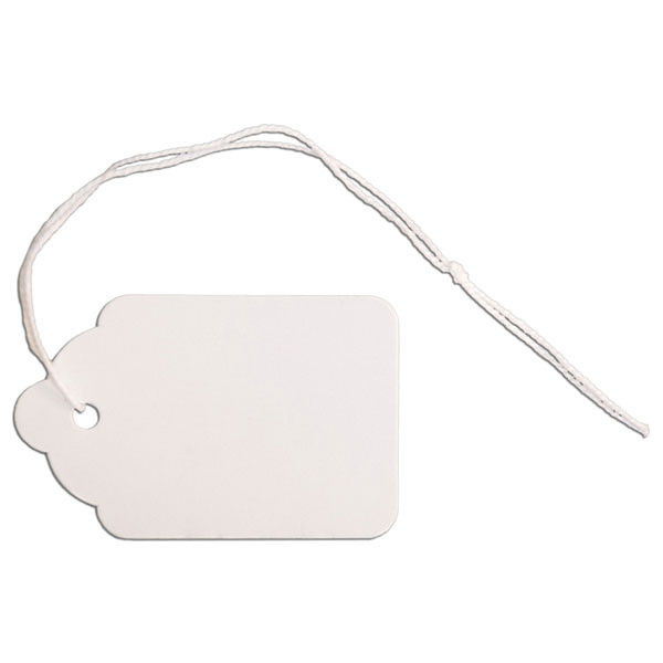 """Merchandise tag #6 with string 1-1/4""""x1-7/8"""" - white"""