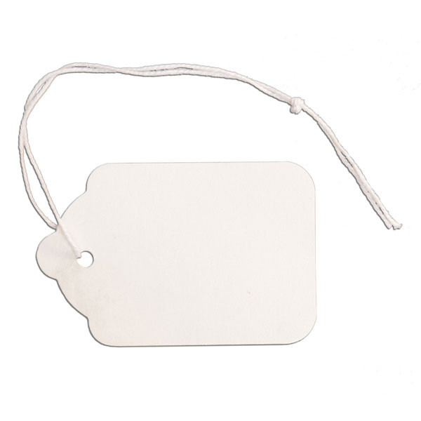 "Merchandise tag #7 with string 1-1/2""x2-1/8"" - white"