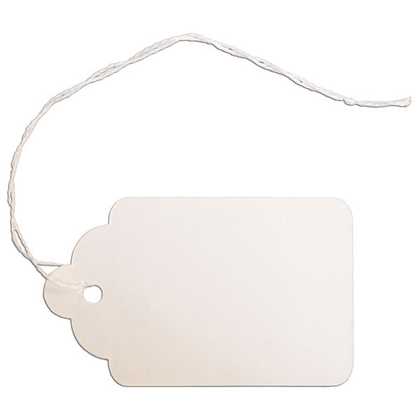 "Merchandise tag #8 with string 1-5/8""x2-5/8"" - white"