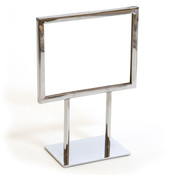 "Counter top sign holder with double stem 7""w x 5-1/2""h - chrome"