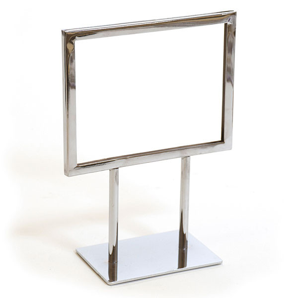 """Counter top sign holder with double stem 7""""w x 5-1/2""""h - chrome"""