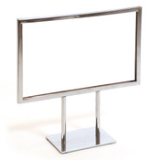 "Counter top sign holder with double stem 11""w x 7""h - chrome"