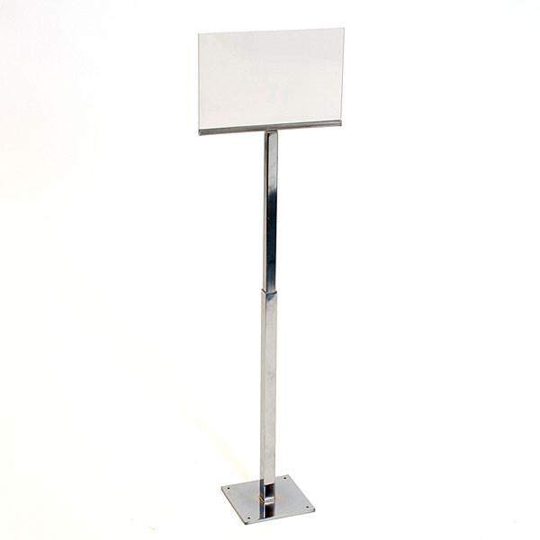 "Adjustable sign holder 11""w x 7""h - chrome with acrylic head"