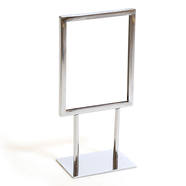 """Counter top sign holder with double stem 5-1/2""""w x 7""""h - chrome"""