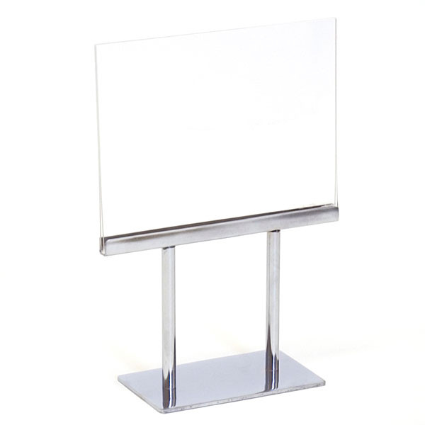 "Counter top sign holder double stem 7""w x 5-1/2""h - acrylic head"