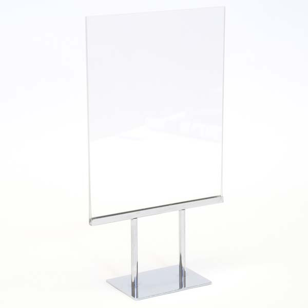 """Counter top sign holder double stem 8-1/2""""w x 11""""h - acrylic head"""