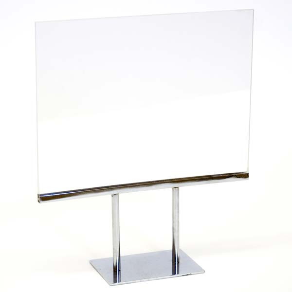 "Counter top sign holder double stem 11""w x 8-1/2""h - acrylic head"