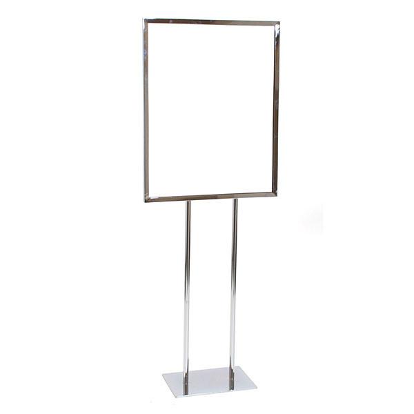 """Floor standing sign holder 22""""x28"""" - chrome"""