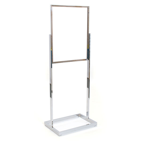 "Floor standing sign holder 22""x28"" rectangular tube - chrome"