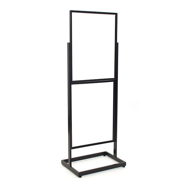 """Floor standing sign holder 22""""x28"""" double frame 65 1/2 tall rectangular tube - black"""
