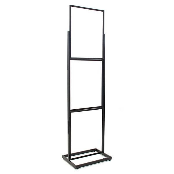 """Floor standing sign holder 22""""x28"""" triple frame 90""""high rectangular tube - black"""