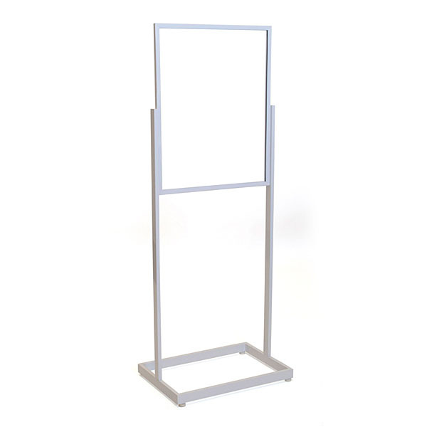 "Floor standing sign holder 22""x28"" rectangular tube - white"