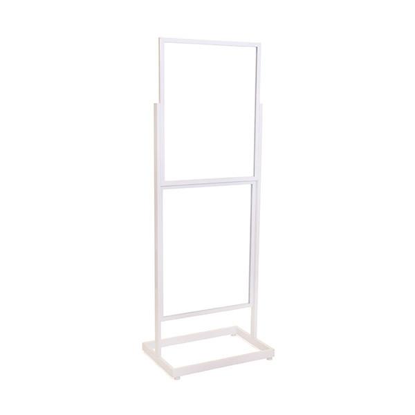 """Floor standing sign holder 22x28 double frame 65 1/2"""" tall rectangular tube - white"""